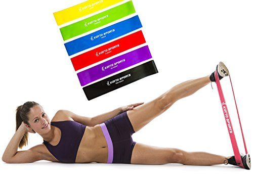 Exercise Bands – Premium Set of 6 Fitness Resistance Loop Bands 12″x 2″ plus E-book Workout Manual