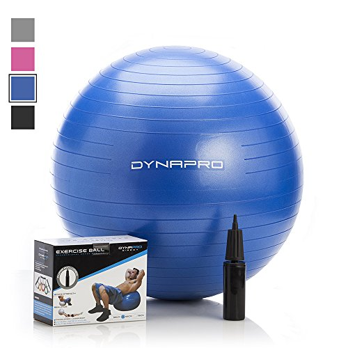 Exercise Ball with Pump- Gym Quality, Anti-Burst, Anti-Slip (Blue, 55 centimeters) Fitness Ball by DynaPro Direct. More colors and sizes available aka Yoga Ball, Swiss Ball