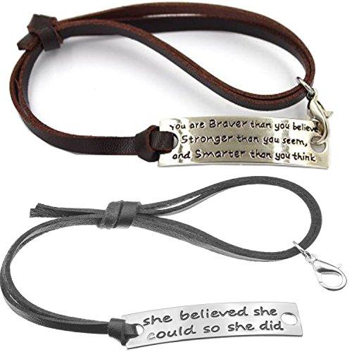Set of 2 Inspirational Charm Bracelet Fitness Motivation Jewelry for Women Mens Adjustable Black&Brown