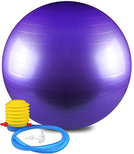Anti Burst and Slip Resistant Yoga Ball – Exercise Ball, Fitness Ball, Total Body Balance Ball By Utopia Home (55 CM)