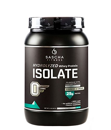 Sascha Fitness Hydrolyzed Whey Protein Isolate (2 Pounds, Cookies & Cream) …