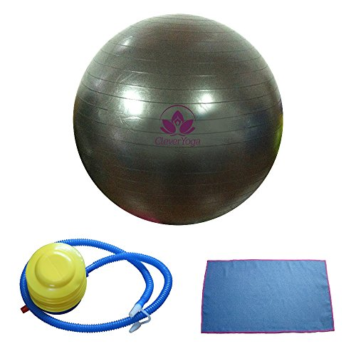 Clever Yoga Exercise Fitness Ball with Hand Towel and Foot Pump – Black, 65cm