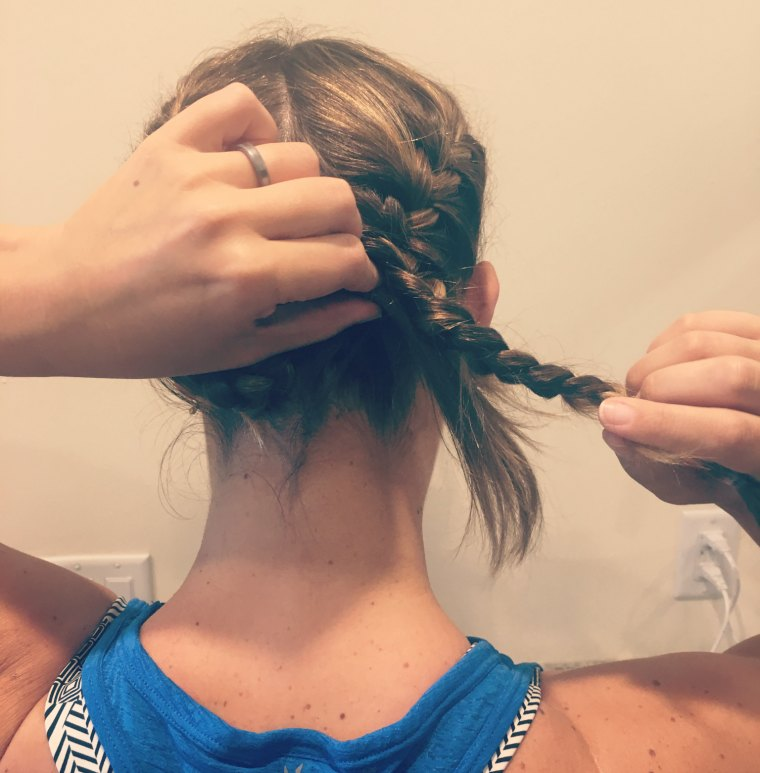 double french braid tucked
