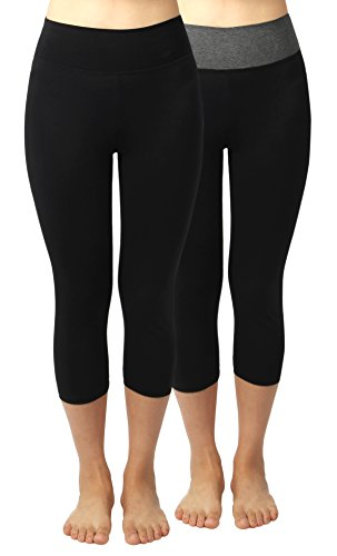 4How-2Pack-Womens-Cotton-Casual-Capris-Legging-Workout-Pants-0