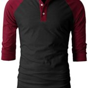 H2H-Mens-Casual-Slim-Fit-Raglan-Baseball-Three-Quarter-Sleeve-Henley-T-Shirts-0-0