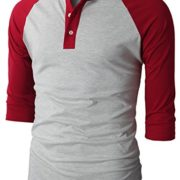H2H-Mens-Casual-Slim-Fit-Raglan-Baseball-Three-Quarter-Sleeve-Henley-T-Shirts-0-1