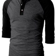 H2H-Mens-Casual-Slim-Fit-Raglan-Baseball-Three-Quarter-Sleeve-Henley-T-Shirts-0