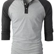 H2H-Mens-Casual-Slim-Fit-Raglan-Baseball-Three-Quarter-Sleeve-Henley-T-Shirts-0-2