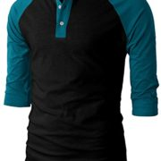 H2H-Mens-Casual-Slim-Fit-Raglan-Baseball-Three-Quarter-Sleeve-Henley-T-Shirts-0-3