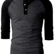H2H-Mens-Casual-Slim-Fit-Raglan-Baseball-Three-Quarter-Sleeve-Henley-T-Shirts-0-4