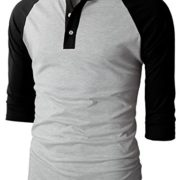 H2H-Mens-Casual-Slim-Fit-Raglan-Baseball-Three-Quarter-Sleeve-Henley-T-Shirts-0-5