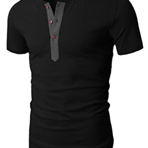 H2H-Mens-Casual-Slim-Fit-Short-Sleeve-Henley-T-shirts-0
