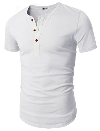 H2h mens casual slim fit short sleeve henley t shirts for Mens long sleeve slim fit henley shirts