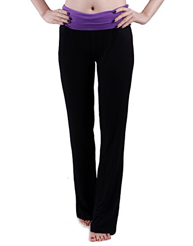 HDE-Womens-Color-Block-Fold-Over-Waist-Yoga-Pants-Flare-Leg-Workout-Leggings-0