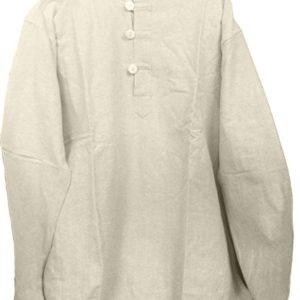 Mens-Tunic-Muslin-Cotton-Cream-Colored-3-button-Loop-Closure-Mandarin-Collar-0
