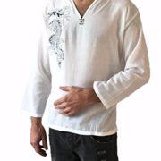 Mens-White-Dragon-Shirt-100-Cotton-Thai-Hippie-0