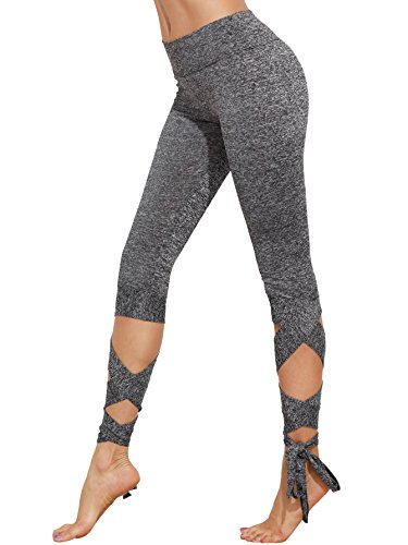 c13a108de7748e SweatyRocks Women's Slim Fit Cutout Tie Cuff High Waisted Skinny Workout  Leggings Yoga Tights