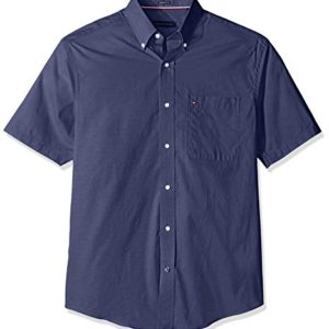 Tommy-Hilfiger-Mens-Short-Sleeve-Regular-Fit-Solid-Buttondown-Collar-Dress-Shirt-0