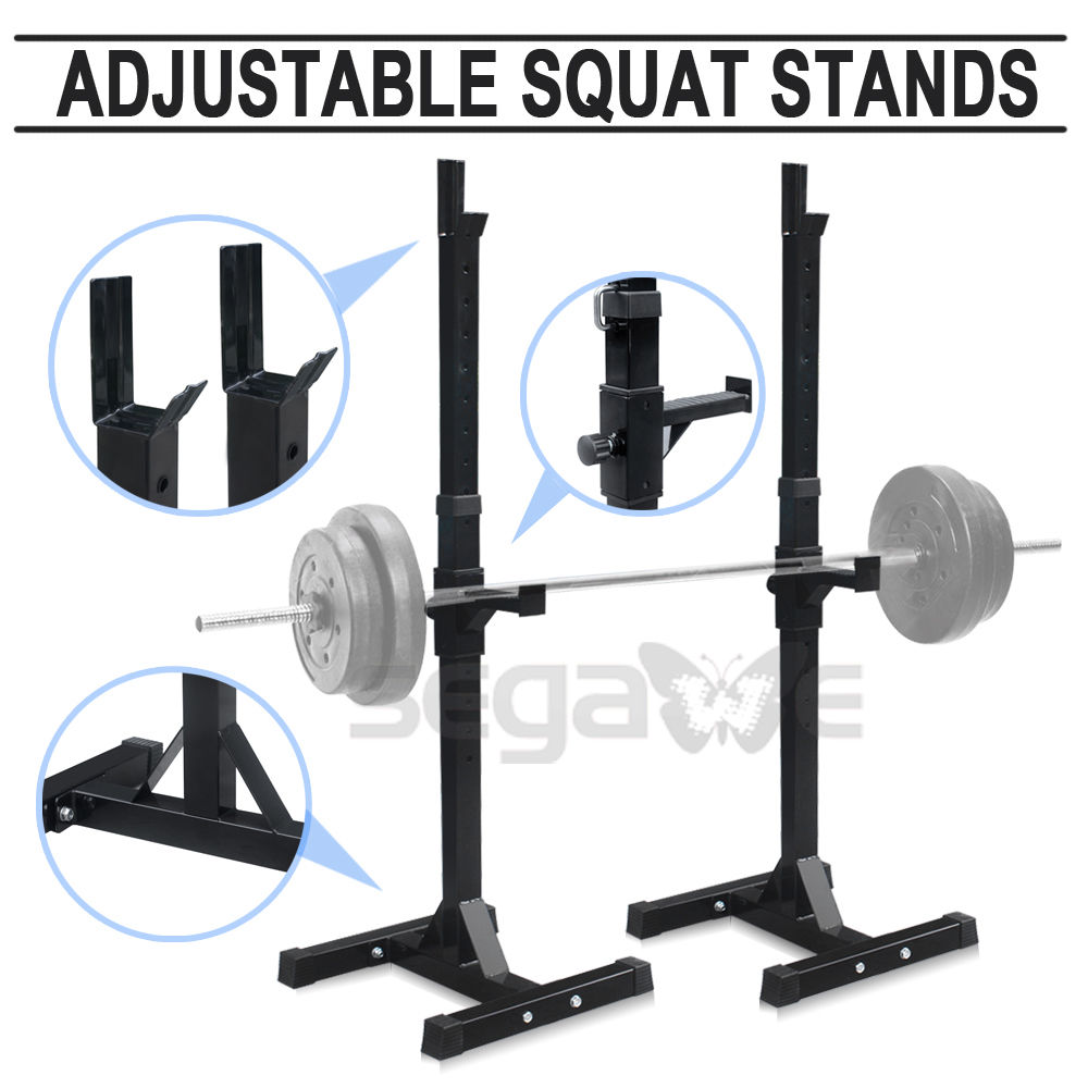 2 Barbell Rack Stand Squat Bench Press Home Gym Weight