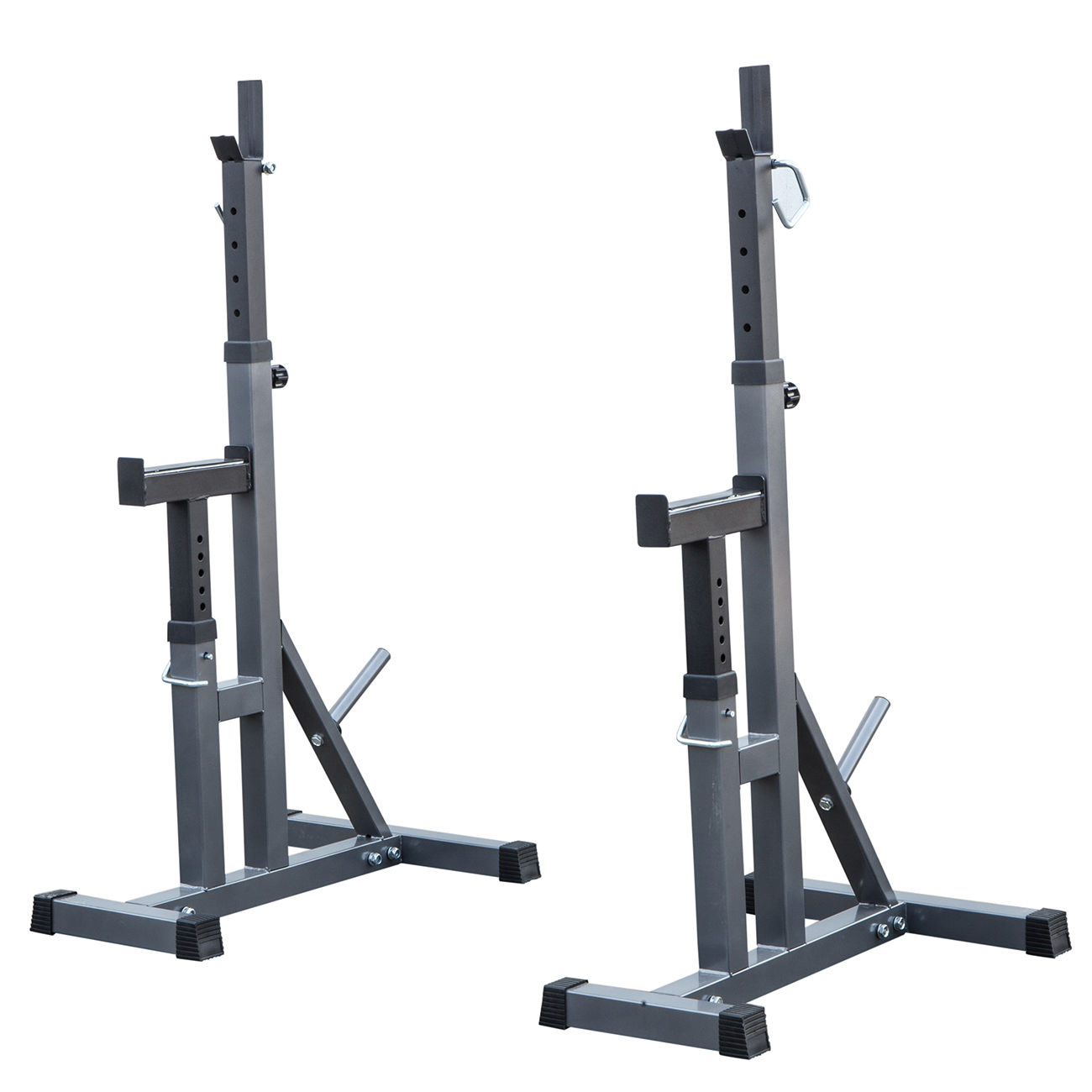 2 Pc Adjustable Rack Standard Steel Squat Stands Barbell Free Press Bench W Peg Work Out Wear