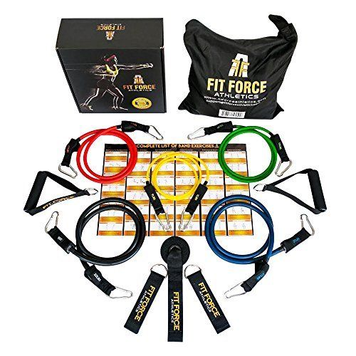 Exercise Bands Names: BEST RESISTANCE BANDS Exercise Equipment Workout Set (15