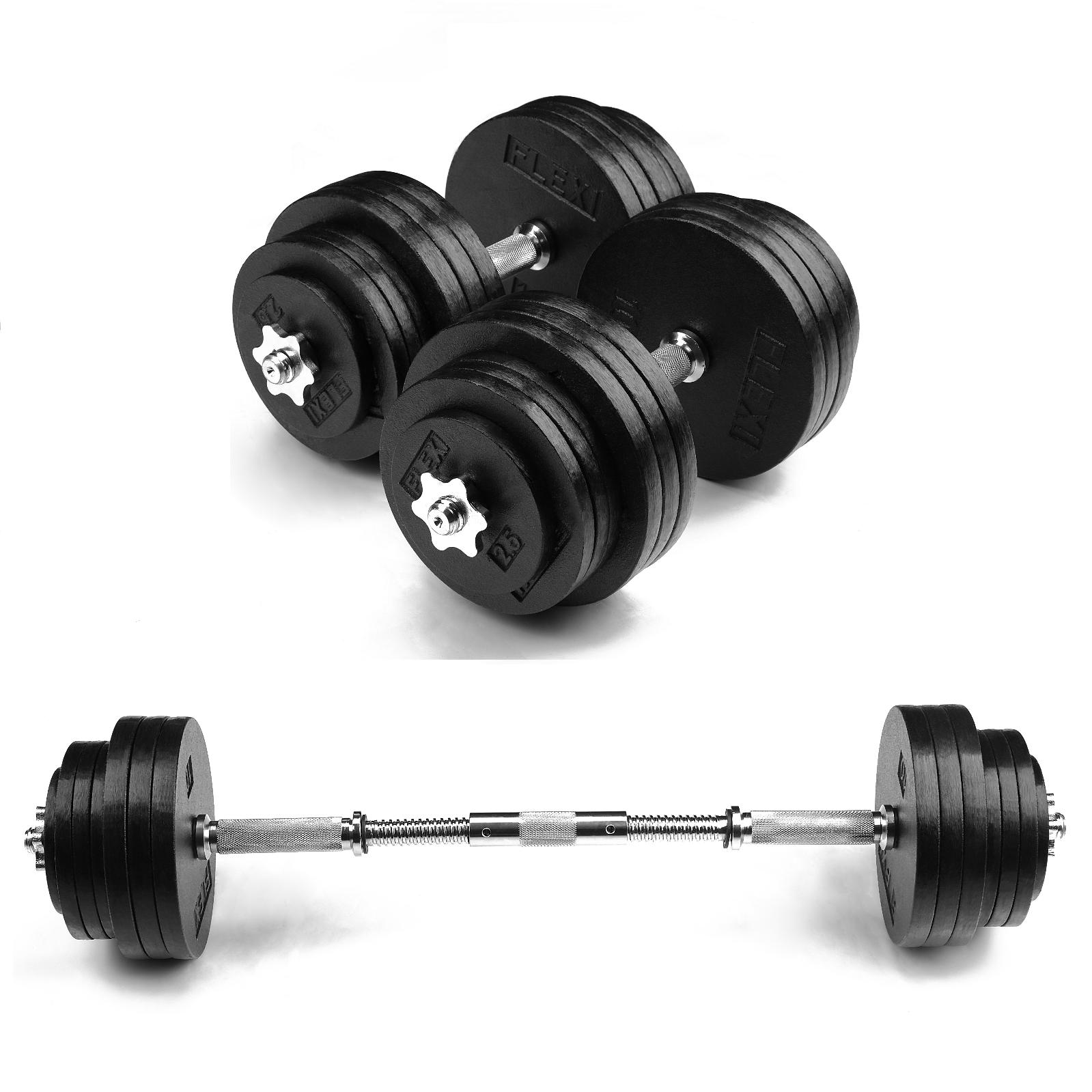 Adjustable 200 Lb Dumbbells: FlexiMuscle 200LB Adjustable Cast Iron Dumbbells Set