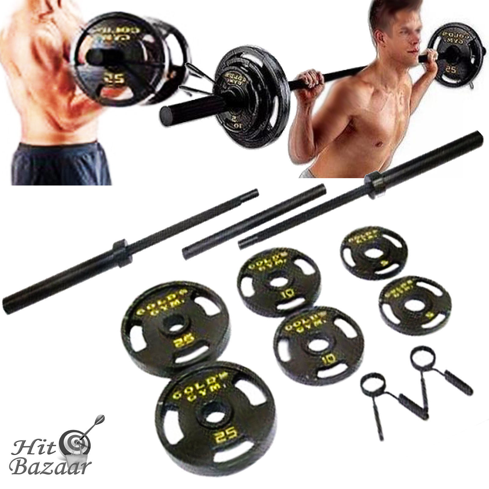 Olympic Weight Set 110 lb Plates Barbell Workout Gym ...