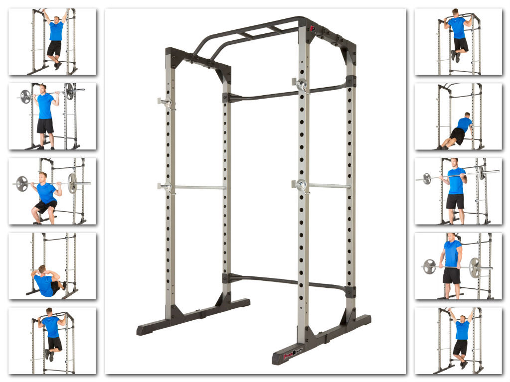 Squat Power Rack Cage Durable Square Tubular Steel Frame Pull-up Bar ...