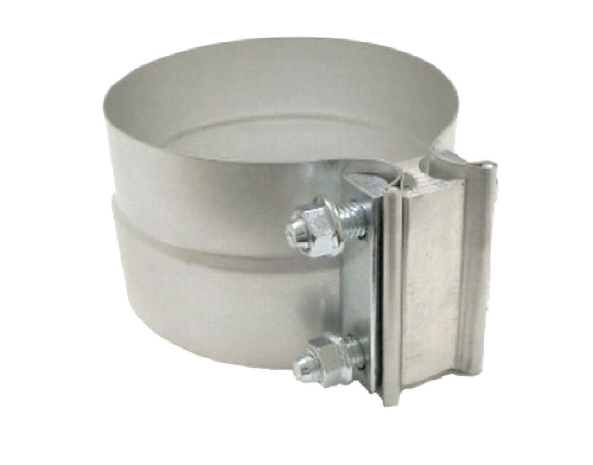 Aluminized stainless steel exhaust band clamp lap