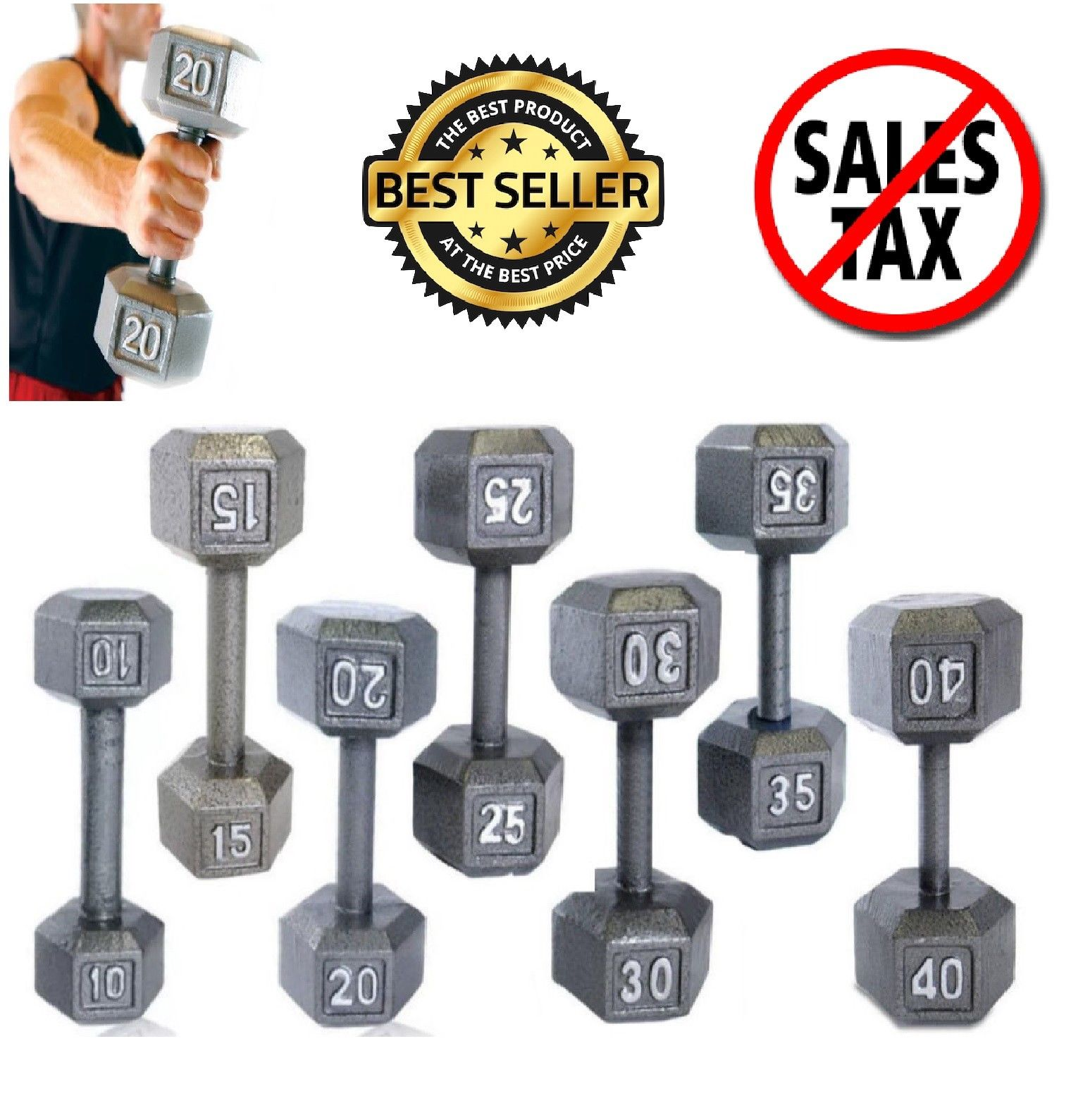 Cap Hex Dumbbells Barbell Cast Iron Hand Weight Pair Muscle 1 lb