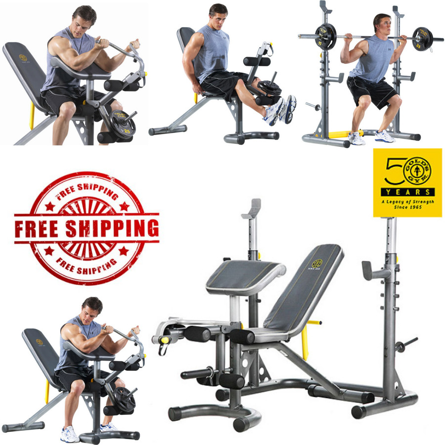 Golds Gym Xrs 20 Olympic Workout Bench And Rack 2in1 Squat Power Weight Abs Work Out Wear