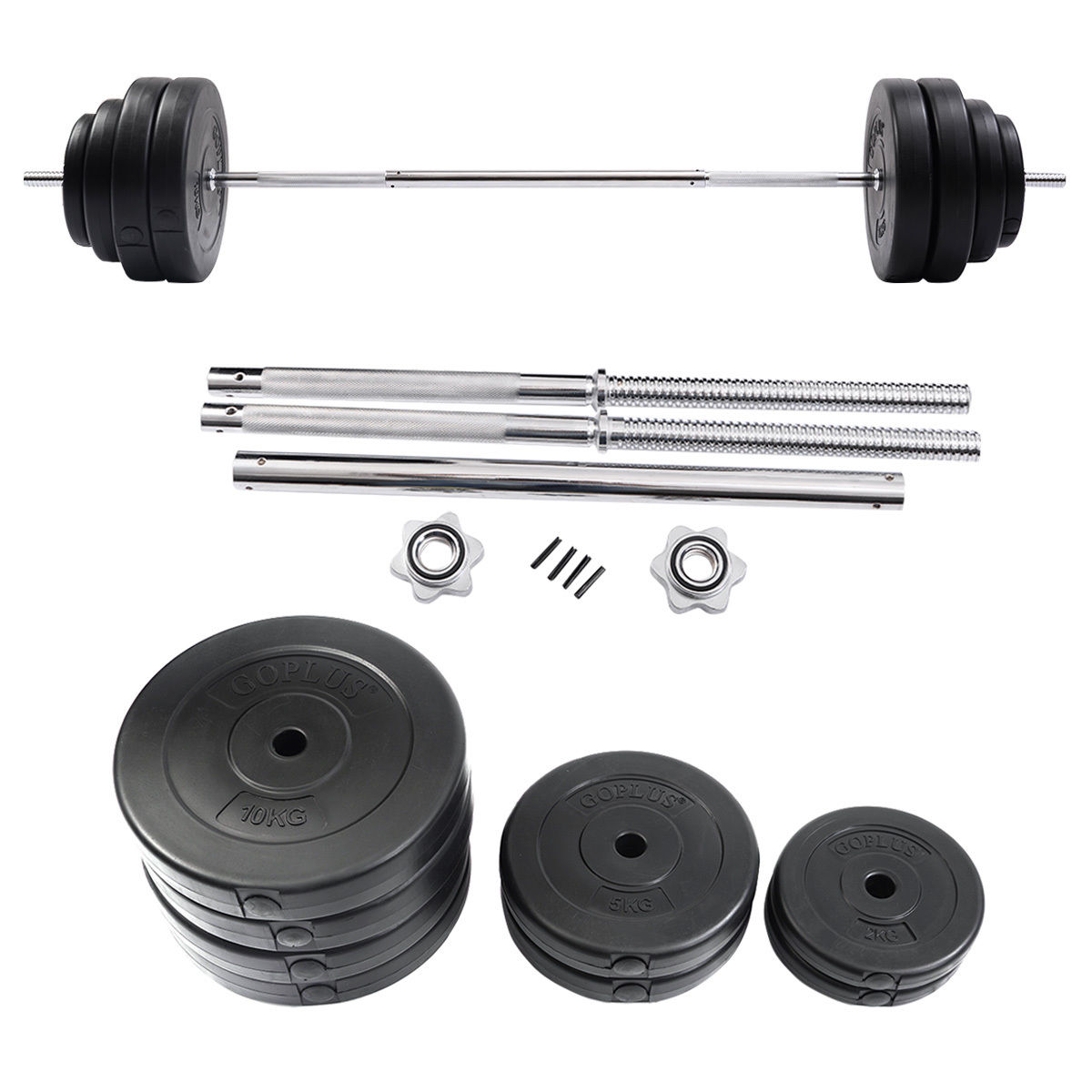 Workout Fitness Exercise Barbell Standard Curl Bar Weight: Goplus 132 LB Barbell Dumbbell Weight Set Gym Lifting