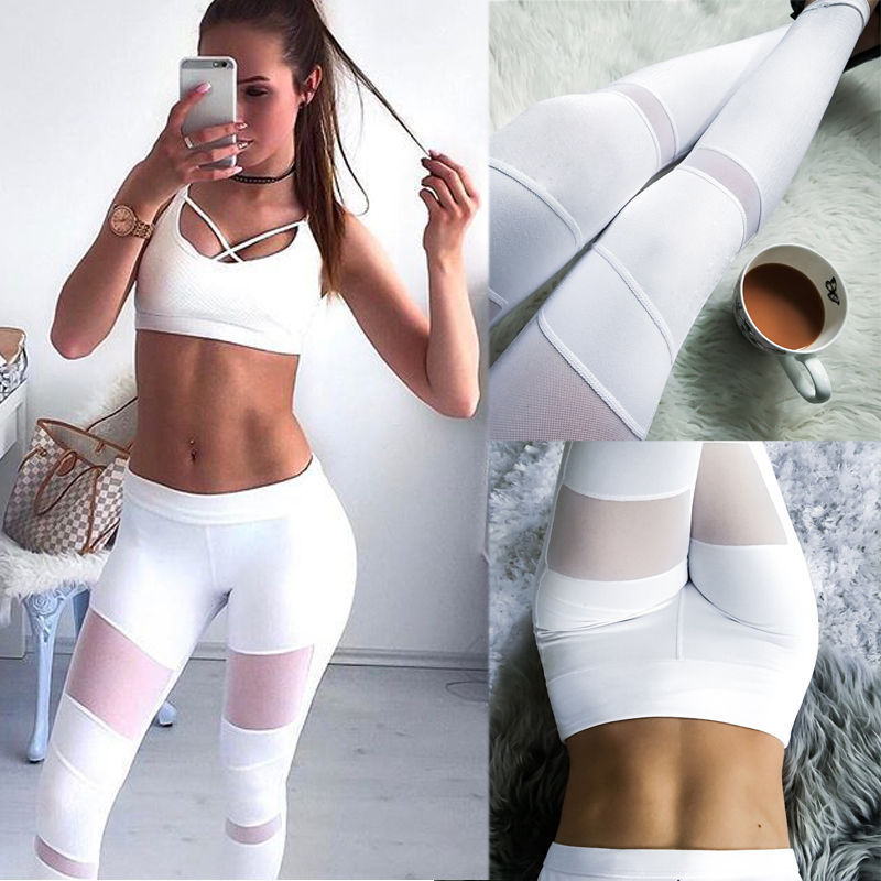 US Womens Sports Gym Yoga Workout High Waist Running Elastic Fitness Leggings