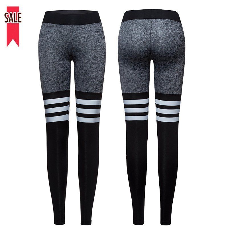 Women Sports Yoga Gym Fitness Workout Leggings Striped Pants Jogging Trousers US