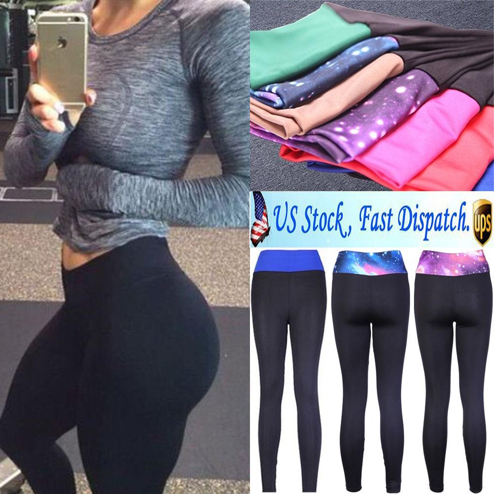 Women YOGA Workout Gym Sports Pants Leggings High Waist