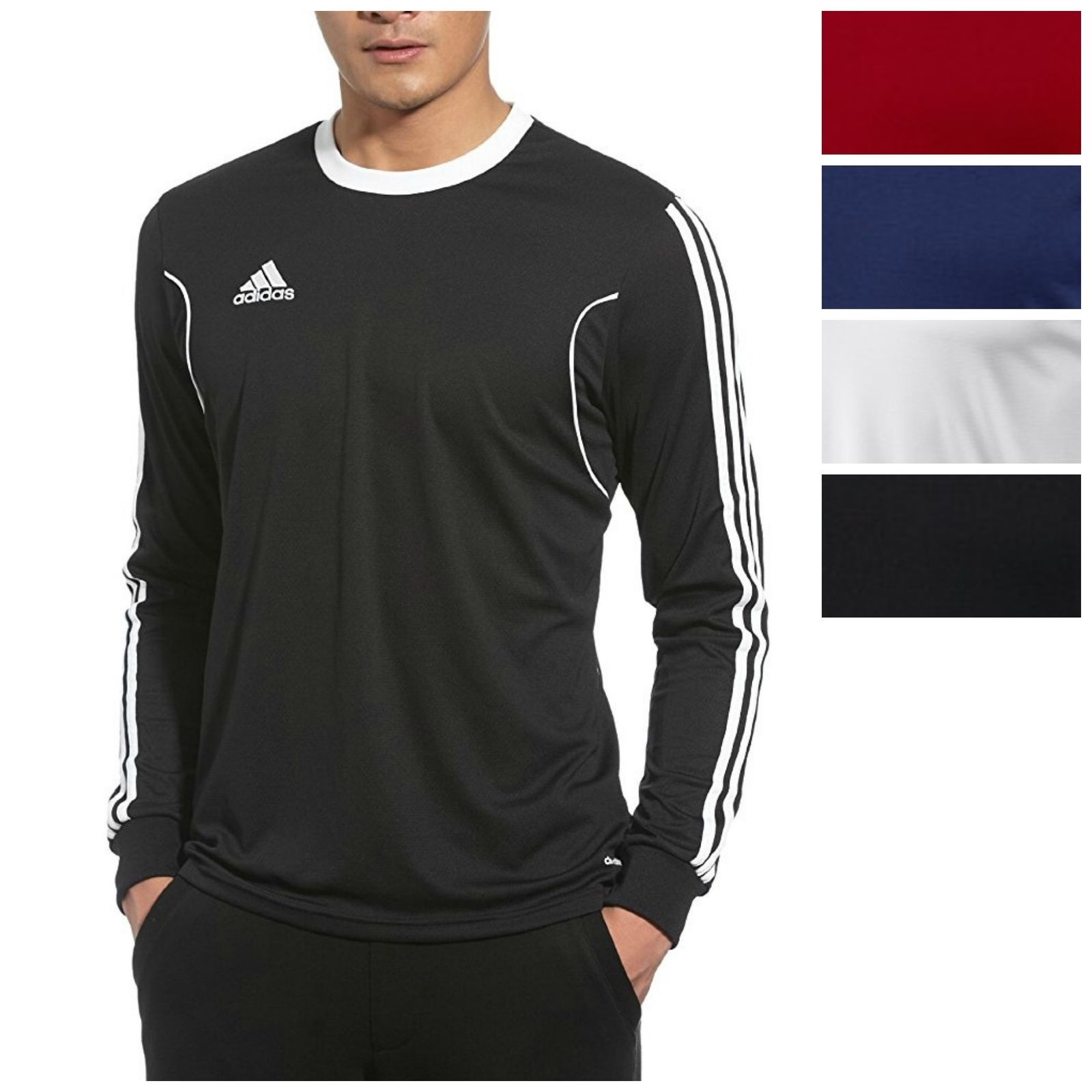 Adidas men 39 s squadra 13 long sleeve shirt athletic slim for Long sleeve fitted tee shirt