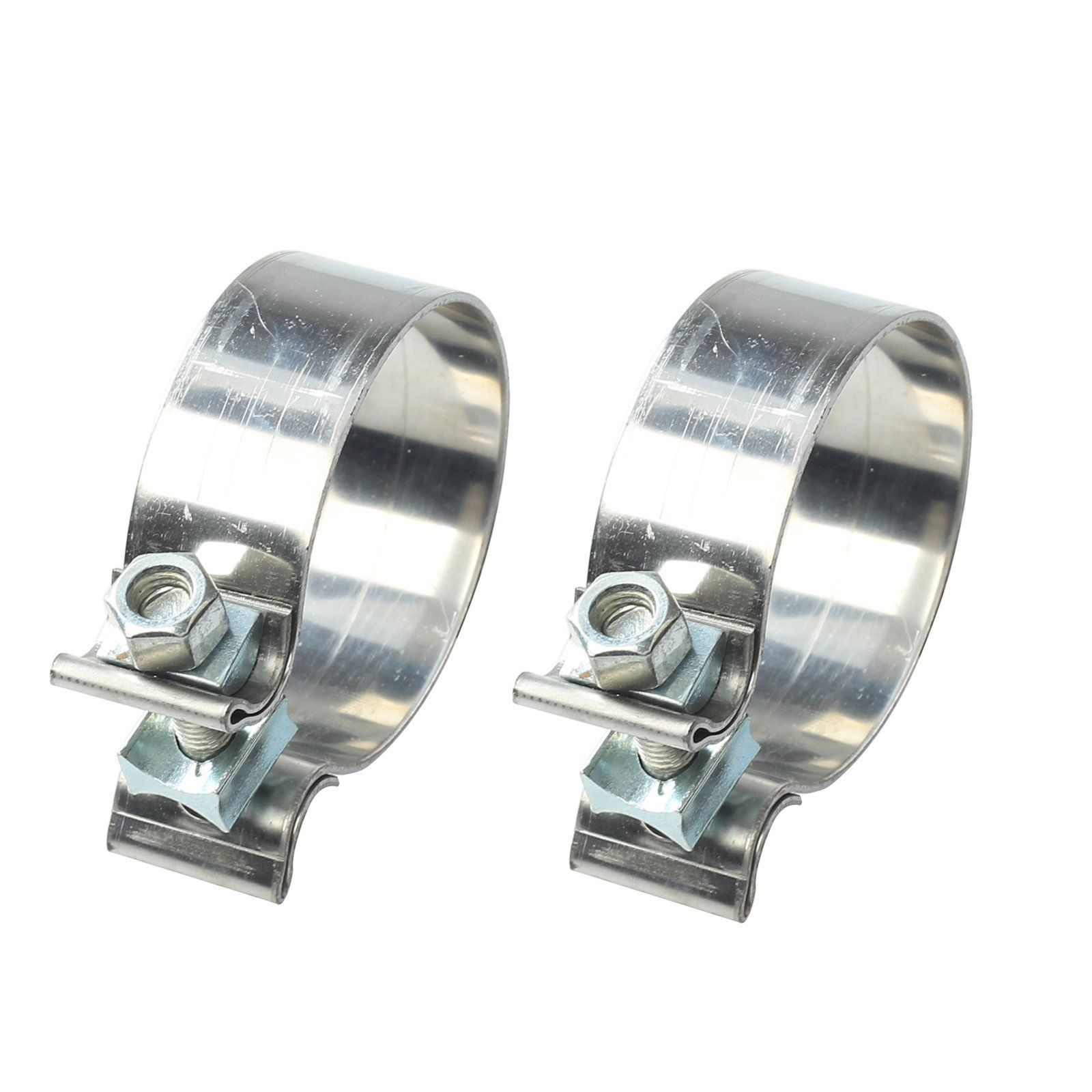 2PCS 2.25″ 2 1/4″ Genuine Stainless Steel Lap Joint Band Exhaust Clamp T409