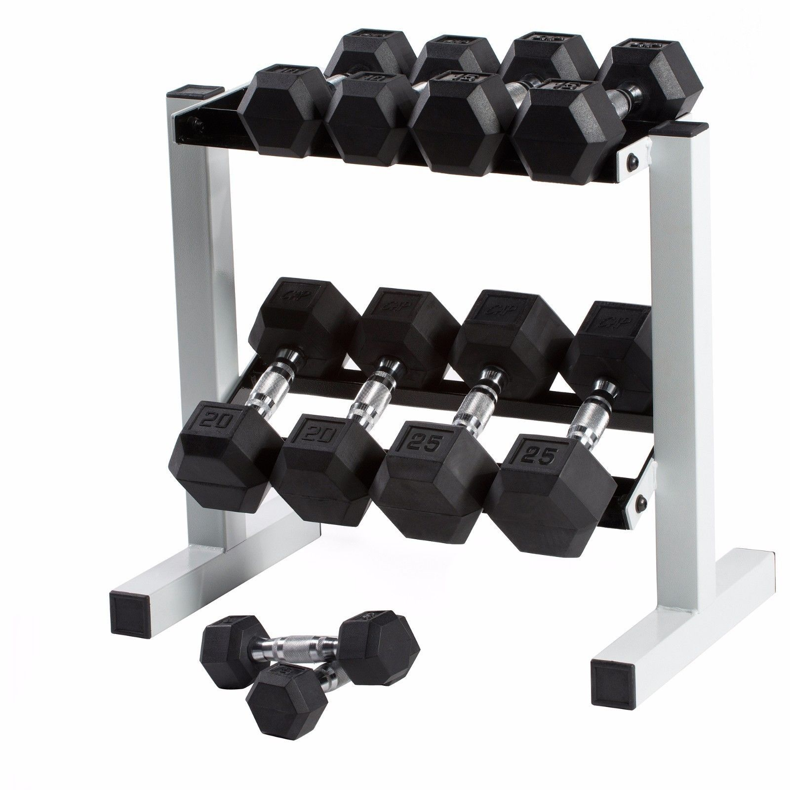 CAP Barbell Set of 2 Rubber-Coated Hex Dumbbells 5lb – 45lbs Pair Fixed Weights