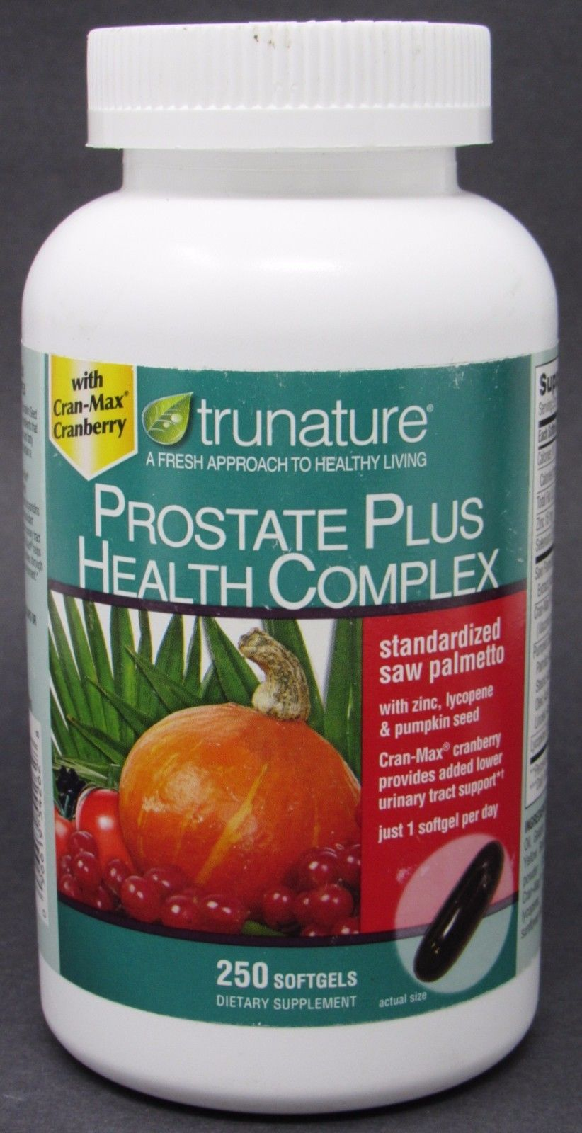 NEW 250-Softgels trunature Prostate Plus Health Complex Saw Palmetto + Zinc 2019