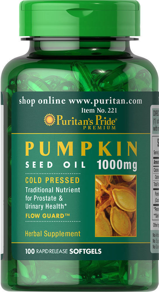 Puritan's Pride Pumpkin Seed Oil 1000 mg 100 Softgels Prostate Health Free Ship