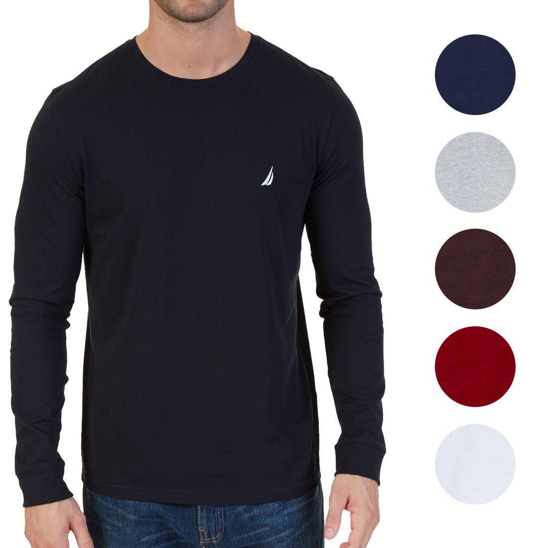 Nautica new mens original classic fit long sleeve crewneck for Long sleeve fitted tee shirt