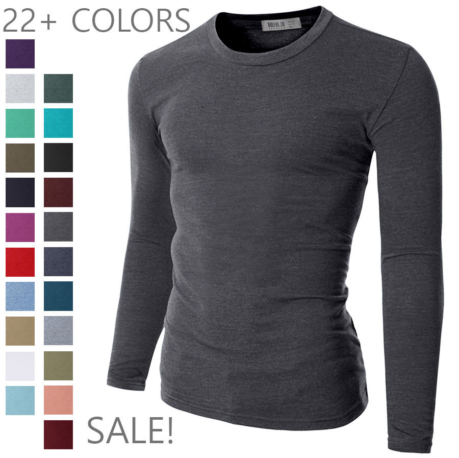 Final sale doublju mens basic crew neck long sleeve slim for Mens long sleeve t shirts sale