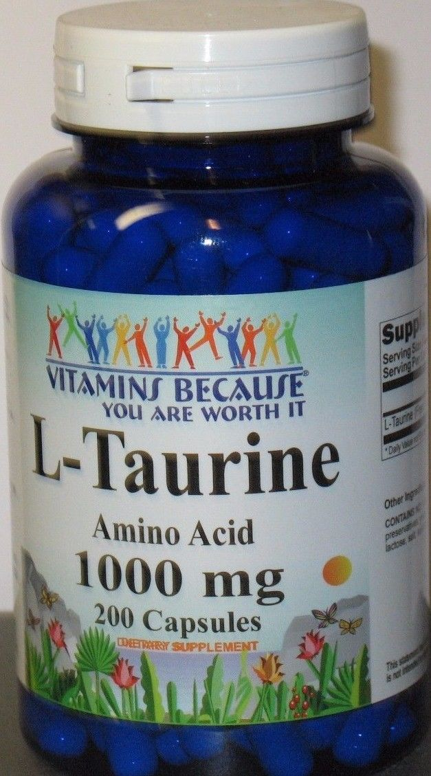L Taurine Amino Acid 1000 mg 200 Capsules Supports Heart Health