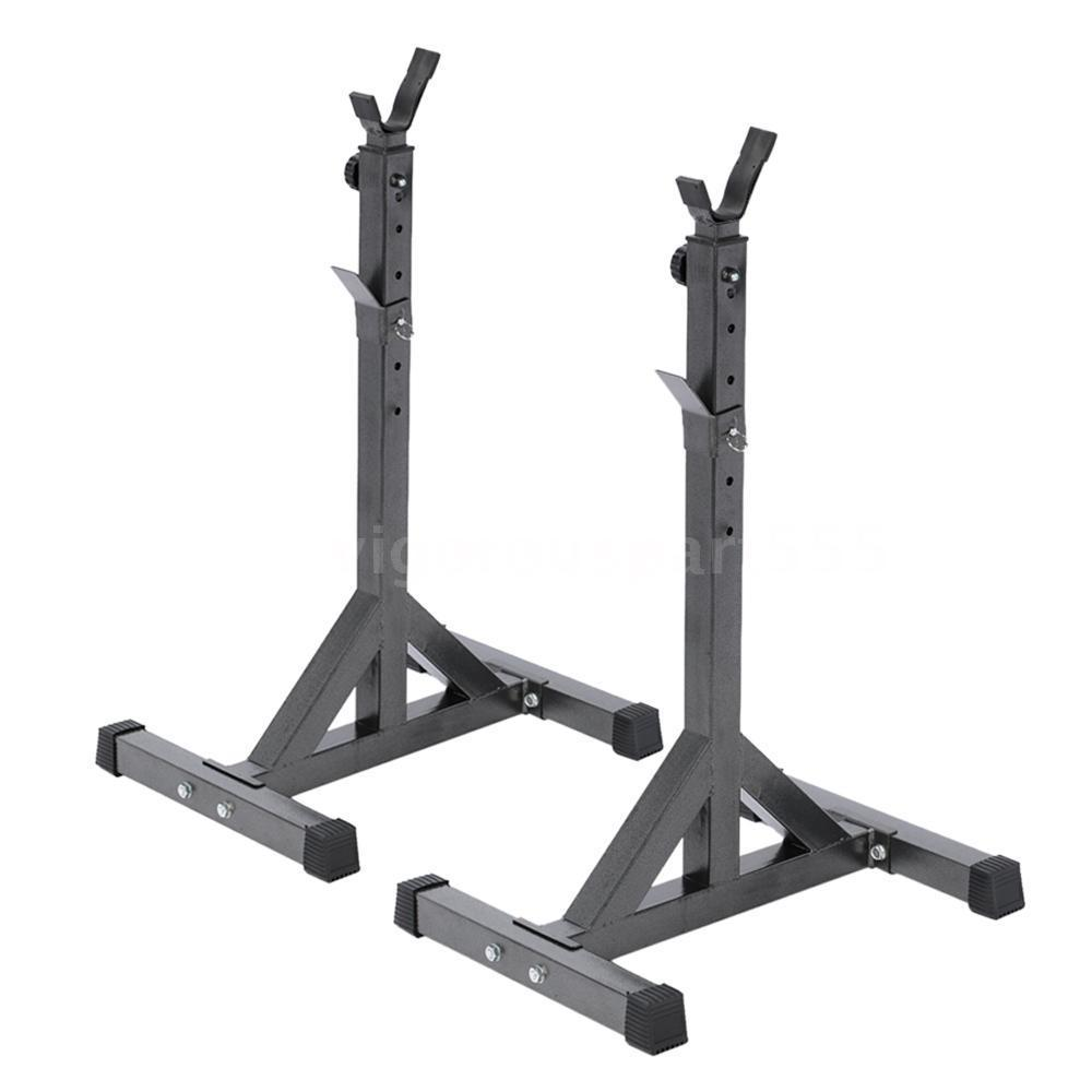 Portable squat rack stand barbell bench press home gym weight