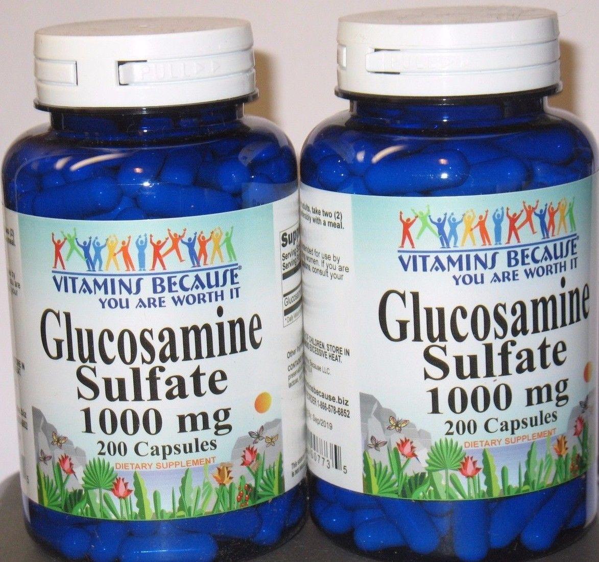 2 x Glucosamine Sulfate 1000 mg  400 Capsules Joint Health