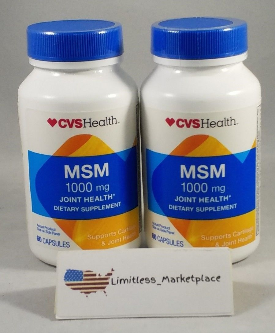 (2)CVSHealth MSM 1000mg – Joint Health – 120 Capsules Total! – Exp. 06/2018