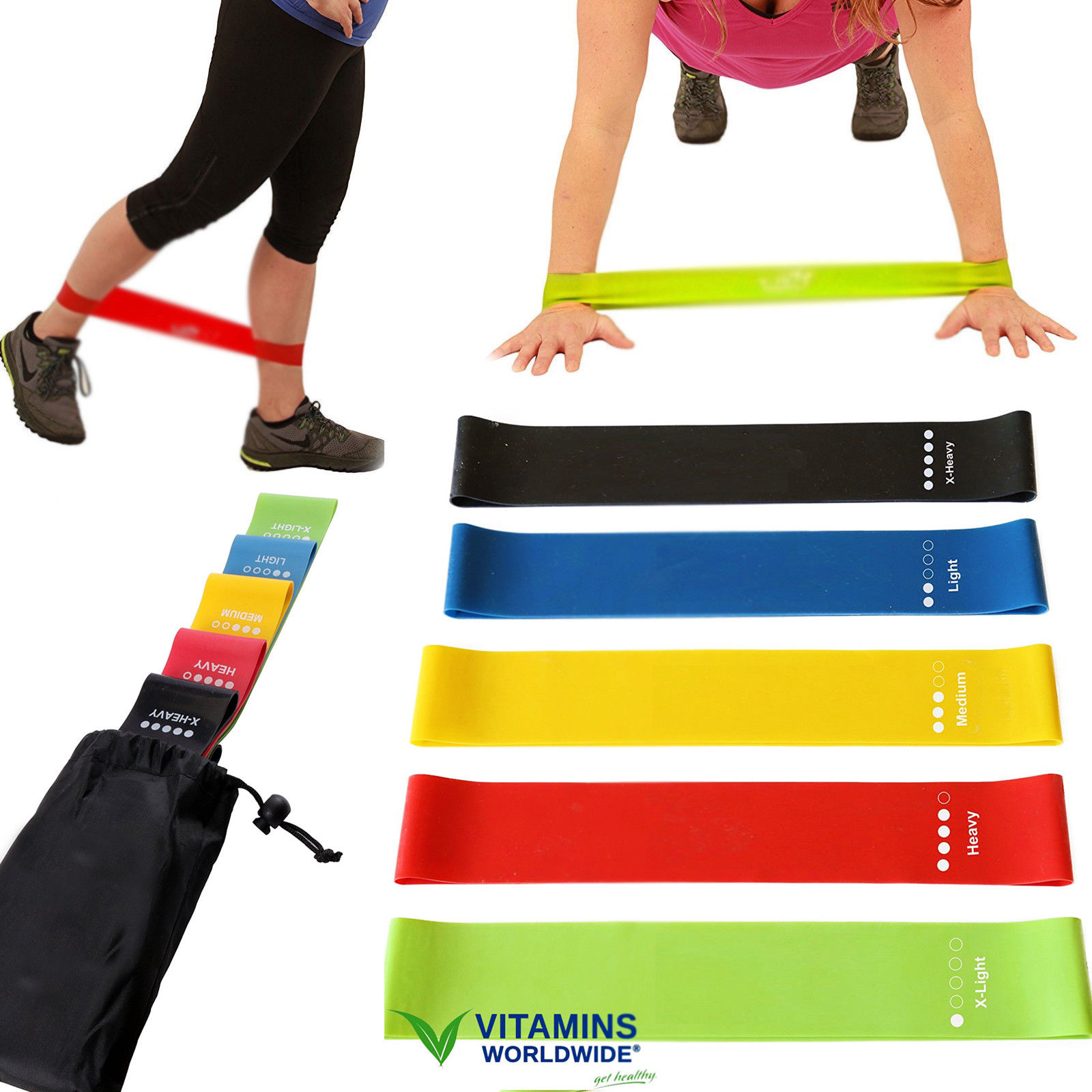 5 RESISTANCE BANDS LOOP Exercise Yoga Training Fitness ...