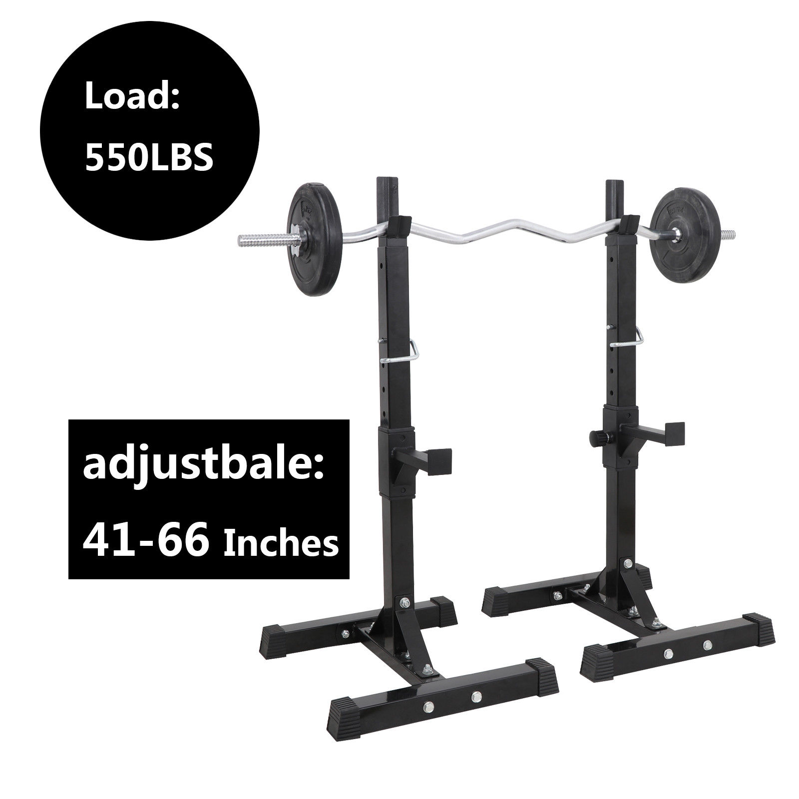 Power Rack Bench Press Safety: Pair Of Adjustable Rack Sturdy Steel Squat Barbell Bench