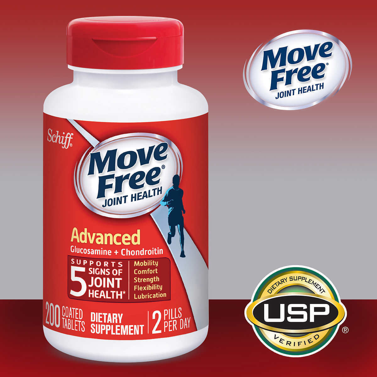 Schiff Move Free Advanced Triple Strength 200 Tablets, Joint Health, New