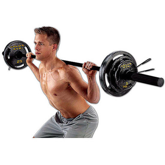 Golds Gym Olympic Weights 110 lbs Bar Cast Iron Plates Gym Barbell Weight Set
